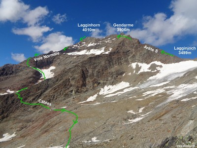 L'arête S du Lagginhorn et la descente par la voie normale