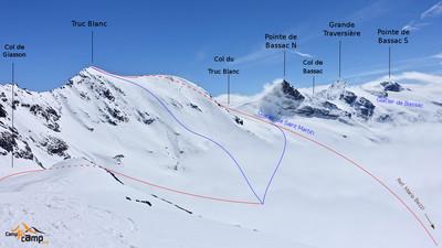 Itinéraire avec en bleu les 2 descentes possibles avant une remontée au col de Giasson