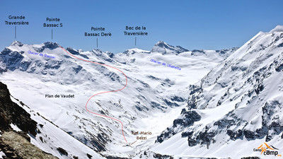 Itinéraire par le glacier de Bassac