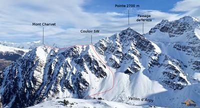 Mont Charvet sommet et traversée,  descente par le couloir SW